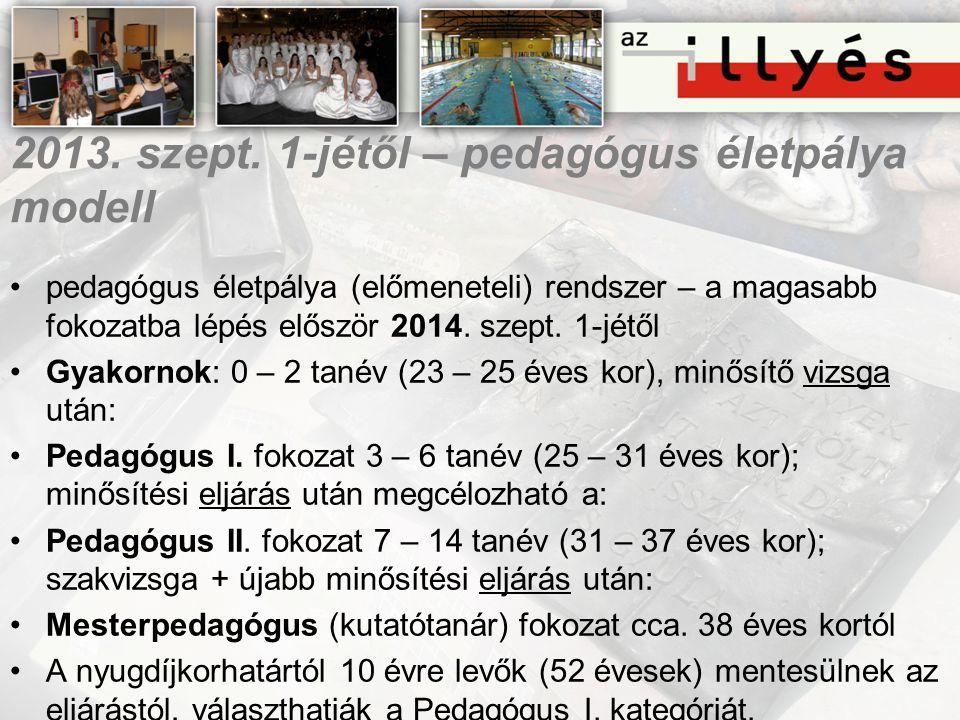2013. szept. 1-jétől – pedagógus életpálya modell •pedagógus életpálya (előmeneteli) rendszer – a magasabb fokozatba lépés először 2014. szept. 1-jétő
