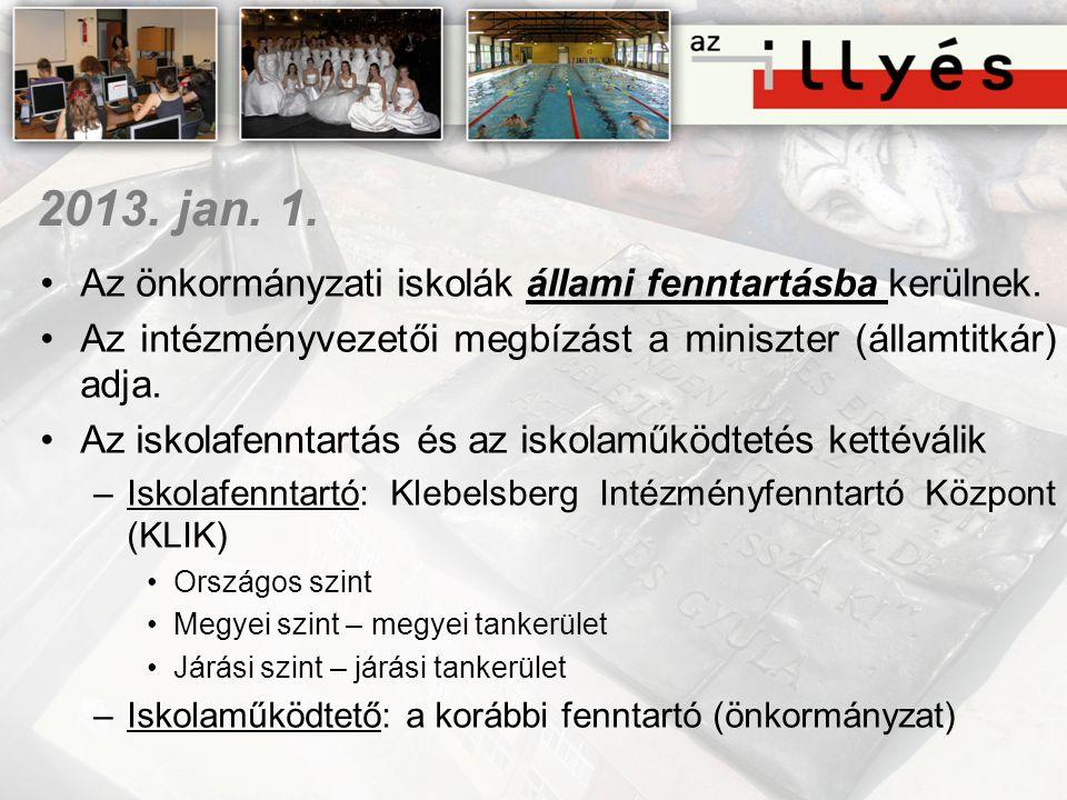 2013. jan. 1. •Az önkormányzati iskolák állami fenntartásba kerülnek. •Az intézményvezetői megbízást a miniszter (államtitkár) adja. •Az iskolafenntar