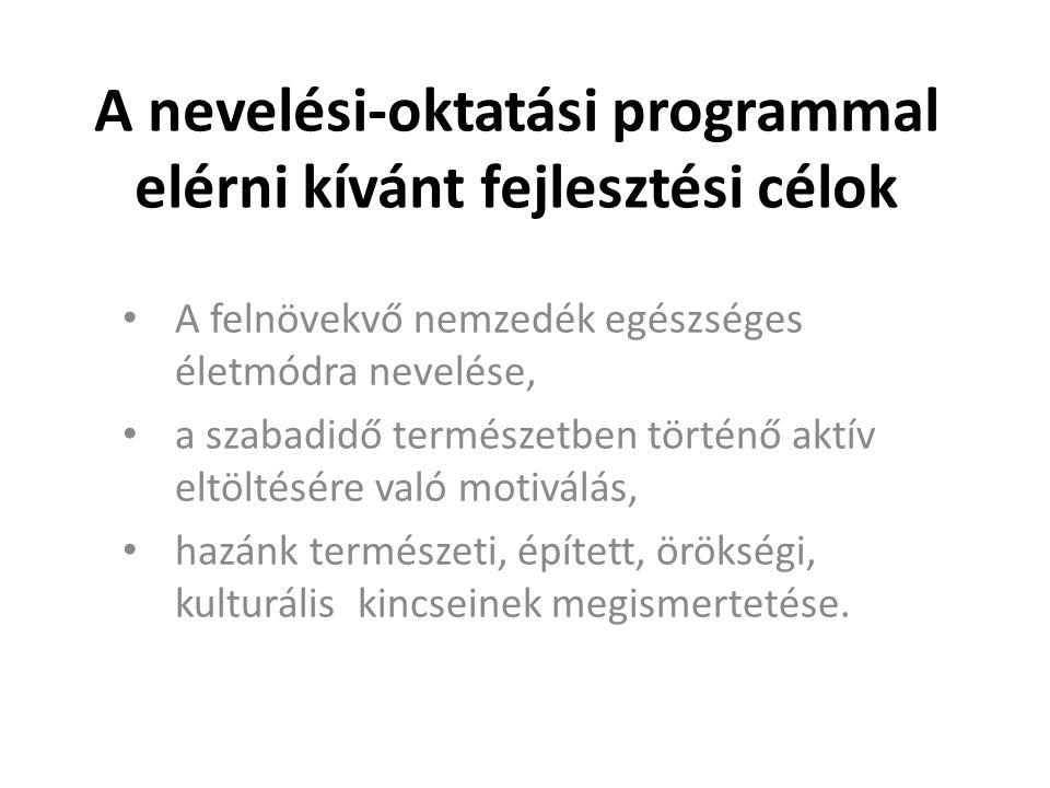 Elvárások a nevelési-oktatási programmal szemben • nem csak a tanórákra koncentrál, hanem a szabadidős tevékenységeket is tervezi, strukturálja • a fejlesztésben a kötelező elemeken legyen a hangsúly • finanszírozható (szükség szerint alternatívák megjelölése lehetséges) • bármelyik intézmény számára lehetőség legyen a program bevezetése,  kereteket és mintákat adjon • általánosan implementálható: az iskolák lehetőségeik, adottságaik, hagyományaik stb.