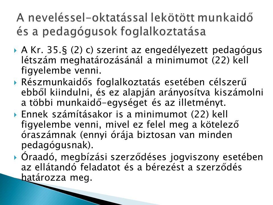  A Kr. 35.§ (2) c) szerint az engedélyezett pedagógus létszám meghatározásánál a minimumot (22) kell figyelembe venni.  Részmunkaidős foglalkoztatás