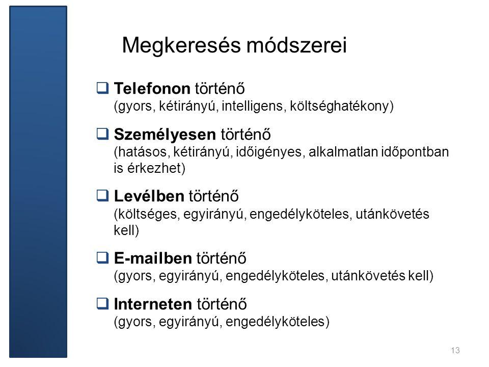 Megkeresés módszerei  Telefonon történő (gyors, kétirányú, intelligens, költséghatékony)  Személyesen történő (hatásos, kétirányú, időigényes, alkal
