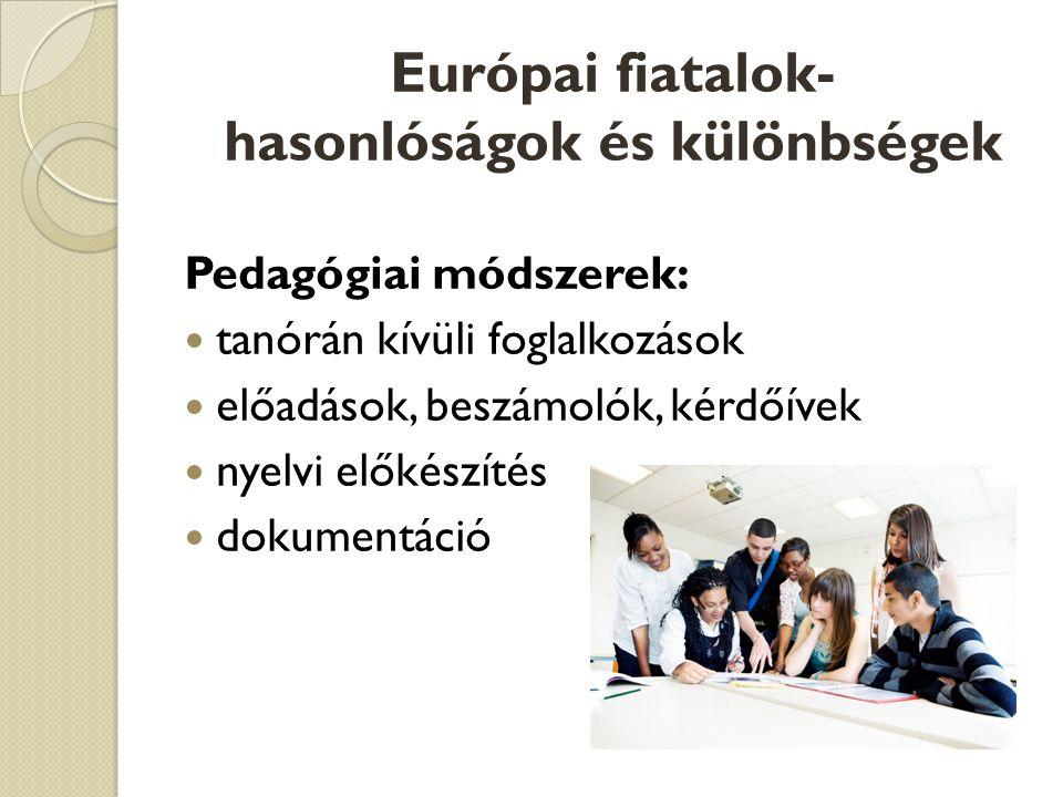 Pedagógiai módszerek:  tanórán kívüli foglalkozások  előadások, beszámolók, kérdőívek  nyelvi előkészítés  dokumentáció
