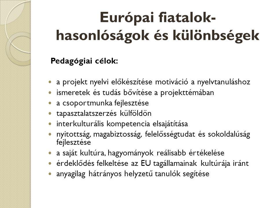 Európai fiatalok- hasonlóságok és különbségek Pedagógiai célok:  a projekt nyelvi előkészítése motiváció a nyelvtanuláshoz  ismeretek és tudás bővítése a projekttémában  a csoportmunka fejlesztése  tapasztalatszerzés külföldön  interkulturális kompetencia elsajátítása  nyitottság, magabiztosság, felelősségtudat és sokoldalúság fejlesztése  a saját kultúra, hagyományok reálisabb értékelése  érdeklődés felkeltése az EU tagállamainak kultúrája iránt  anyagilag hátrányos helyzetű tanulók segítése