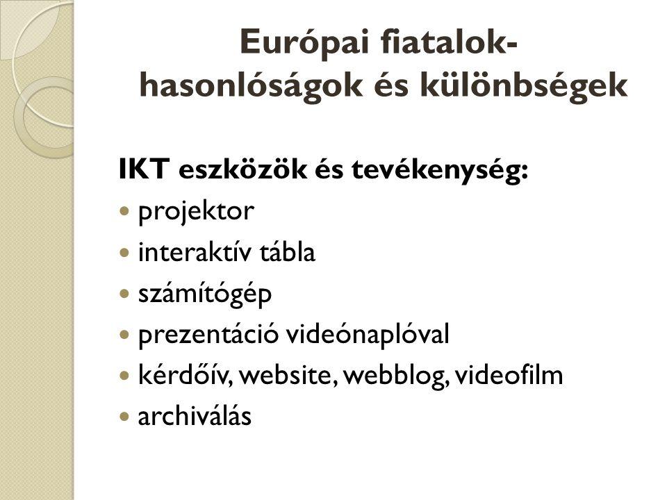 Európai fiatalok- hasonlóságok és különbségek IKT eszközök és tevékenység:  projektor  interaktív tábla  számítógép  prezentáció videónaplóval  kérdőív, website, webblog, videofilm  archiválás