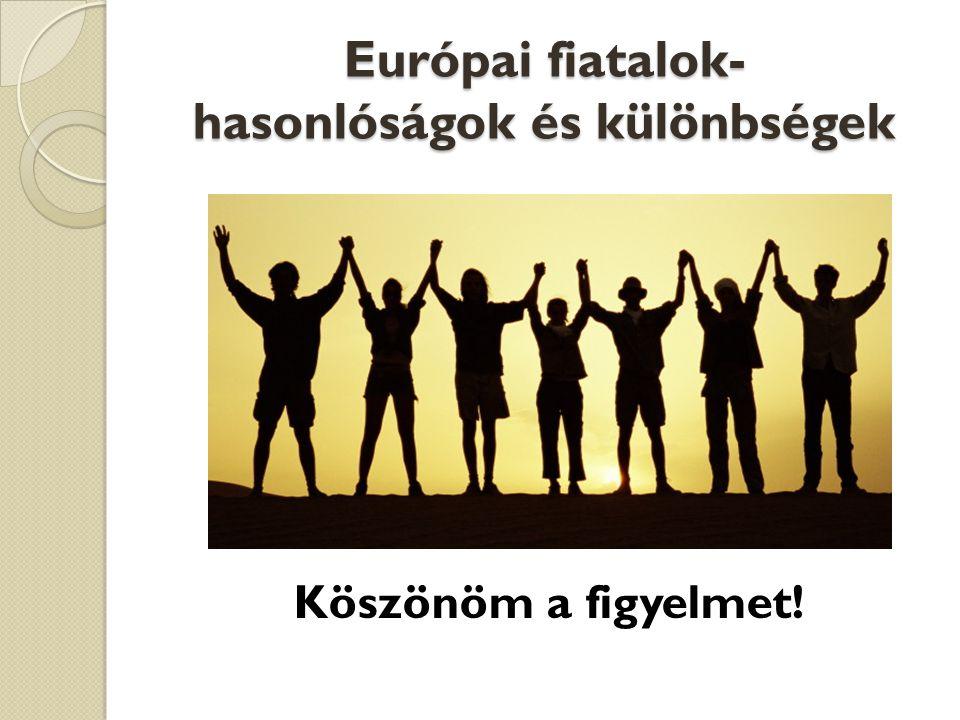 Európai fiatalok- hasonlóságok és különbségek Köszönöm a figyelmet!