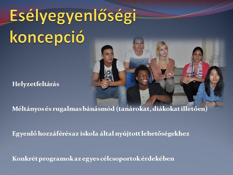 Helyzetfeltárás Méltányos és rugalmas bánásmód (tanárokat, diákokat illetően) Egyenlő hozzáférés az iskola által nyújtott lehetőségekhez Konkrét programok az egyes célcsoportok érdekében