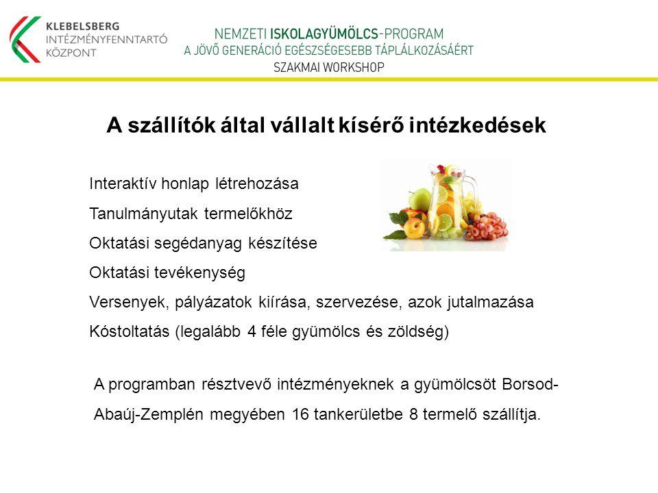 A programban résztvevő intézményeknek a gyümölcsöt Borsod- Abaúj-Zemplén megyében 16 tankerületbe 8 termelő szállítja. Interaktív honlap létrehozása T