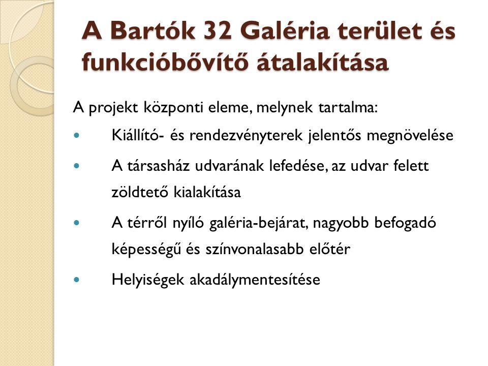 A Bartók 32 Galéria terület és funkcióbővítő átalakítása A projekt központi eleme, melynek tartalma:  Kiállító- és rendezvényterek jelentős megnövelése  A társasház udvarának lefedése, az udvar felett zöldtető kialakítása  A térről nyíló galéria-bejárat, nagyobb befogadó képességű és színvonalasabb előtér  Helyiségek akadálymentesítése
