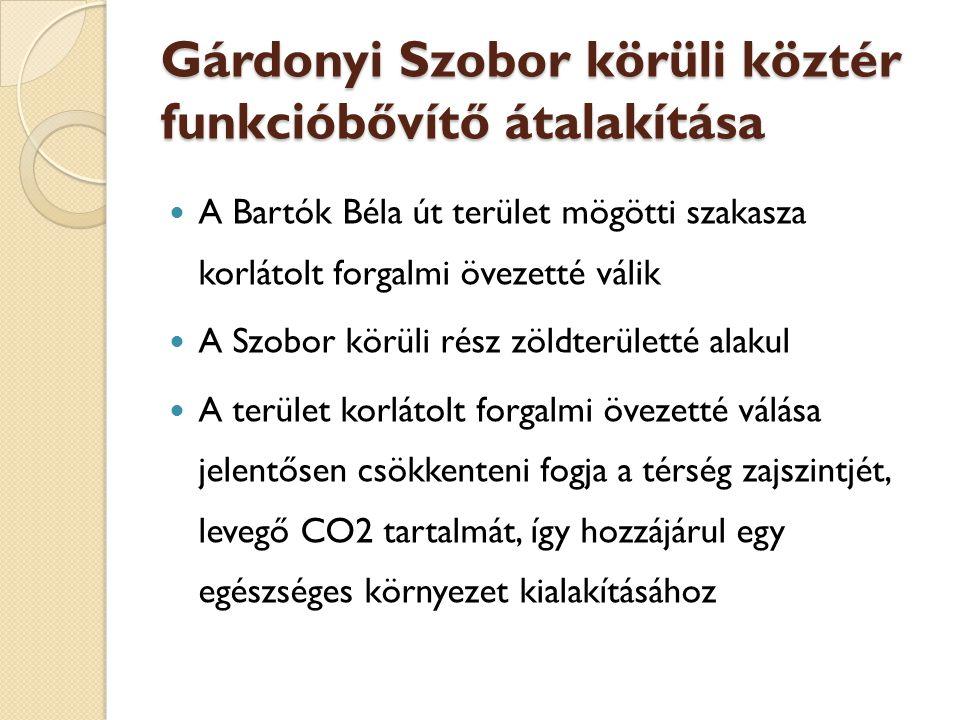 Gárdonyi Szobor körüli köztér funkcióbővítő átalakítása  A Bartók Béla út terület mögötti szakasza korlátolt forgalmi övezetté válik  A Szobor körüli rész zöldterületté alakul  A terület korlátolt forgalmi övezetté válása jelentősen csökkenteni fogja a térség zajszintjét, levegő CO2 tartalmát, így hozzájárul egy egészséges környezet kialakításához