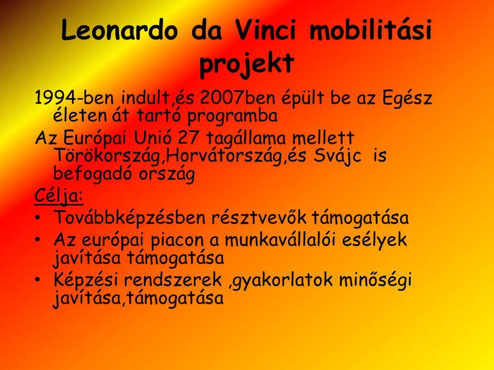 Leonardo da Vinci mobilitási projekt 1994-ben indult,és 2007ben épült be az Egész életen át tartó programba Az Európai Unió 27 tagállama mellett Törökország,Horvátország,és Svájc is befogadó ország Célja: • Továbbképzésben résztvevők támogatása • Az európai piacon a munkavállalói esélyek javítása támogatása • Képzési rendszerek,gyakorlatok minőségi javítása,támogatása