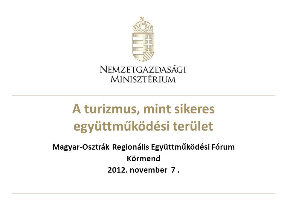 A turizmus, mint sikeres együttműködési terület Magyar-Osztrák Regionális Együttműködési Fórum Körmend 2012.