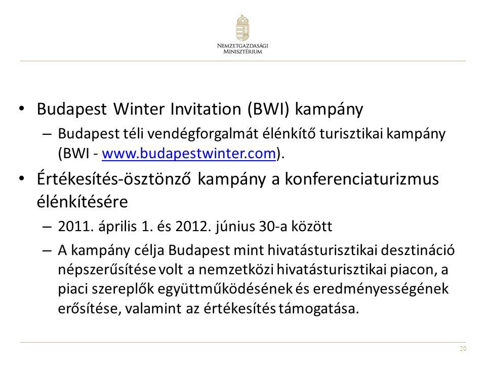 20 • Budapest Winter Invitation (BWI) kampány – Budapest téli vendégforgalmát élénkítő turisztikai kampány (BWI - www.budapestwinter.com).www.budapestwinter.com • Értékesítés-ösztönző kampány a konferenciaturizmus élénkítésére – 2011.