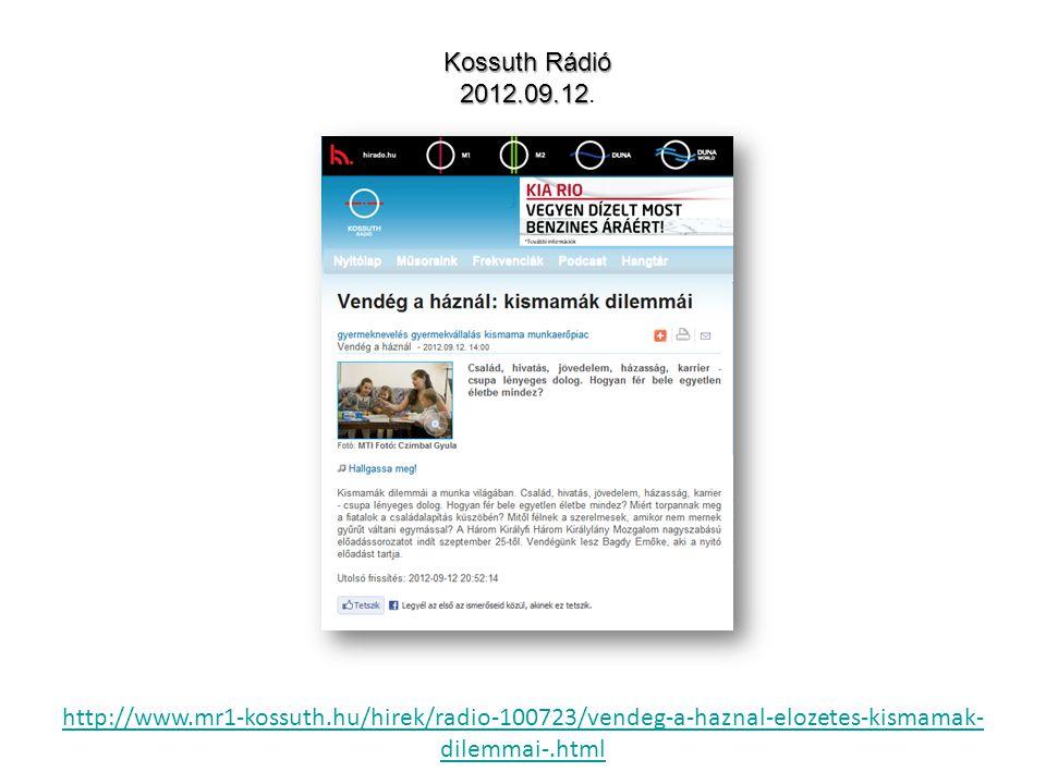 http://www.mr1-kossuth.hu/hirek/radio-100723/vendeg-a-haznal-elozetes-kismamak- dilemmai-.html Kossuth Rádió 2012.09.12 2012.09.12.