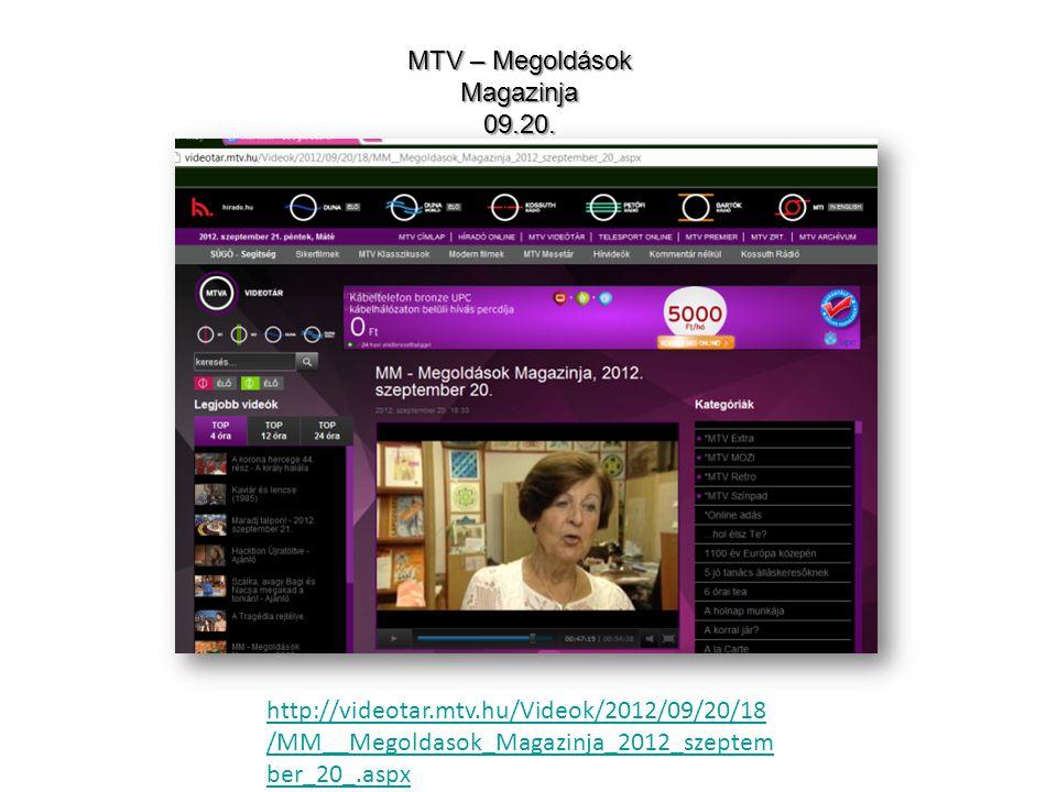 MTV – Megoldások Magazinja 09.20.