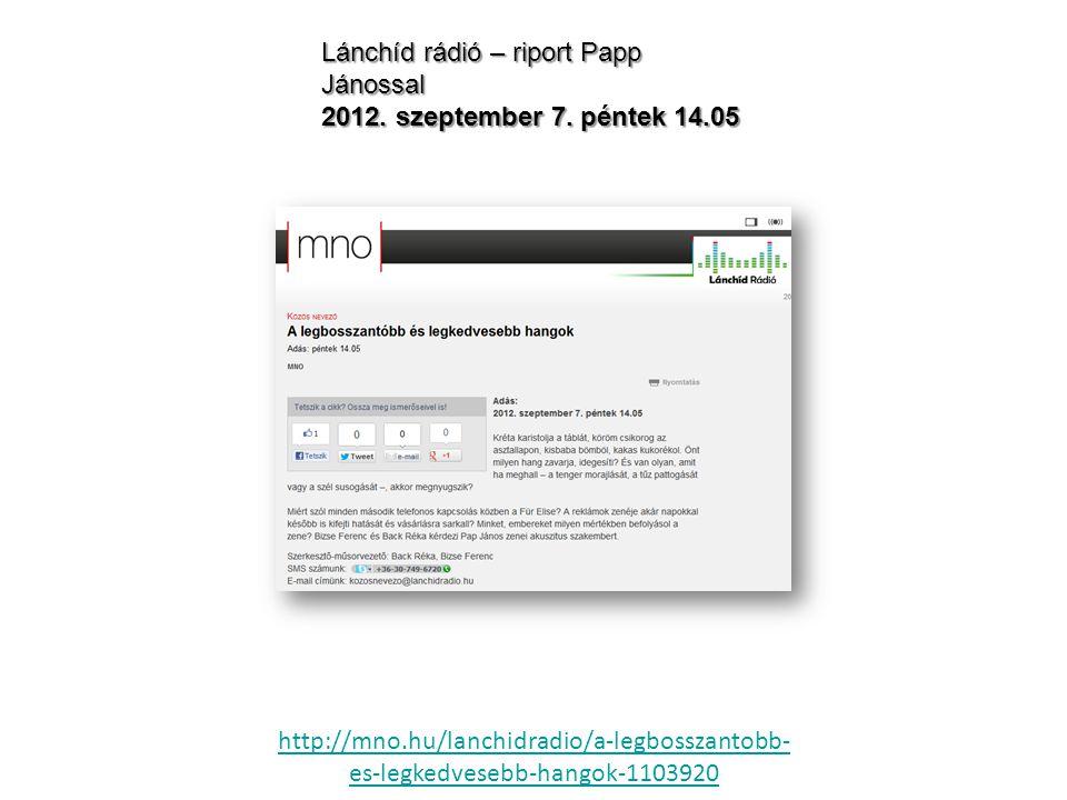 Lánchíd rádió – riport Papp Jánossal 2012. szeptember 7.
