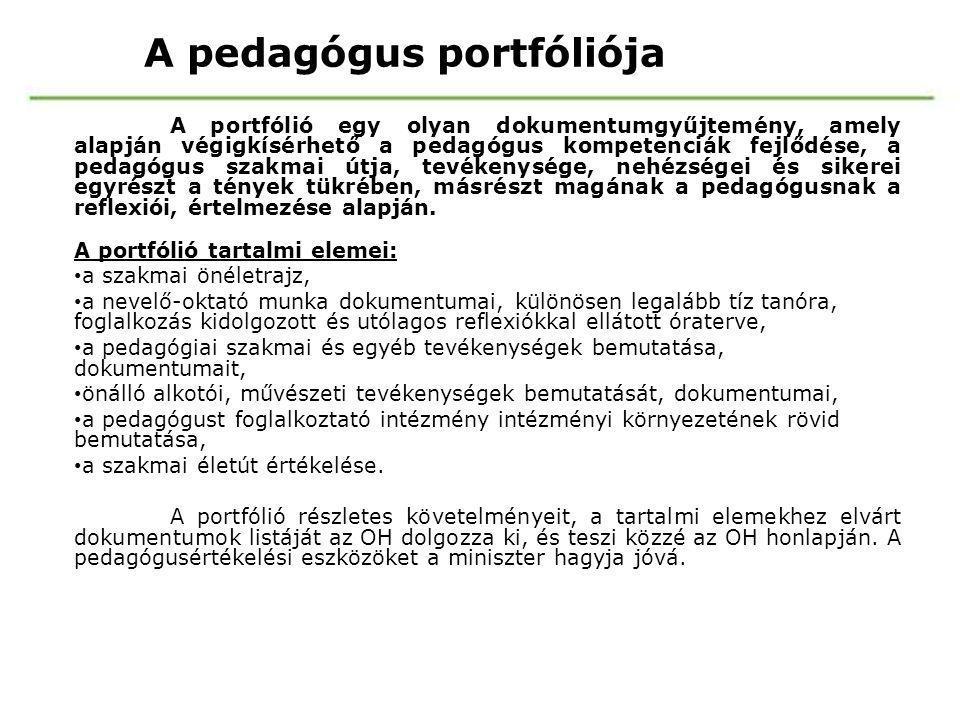 A pedagógus portfóliója A portfólió egy olyan dokumentumgyűjtemény, amely alapján végigkísérhető a pedagógus kompetenciák fejlődése, a pedagógus szakm