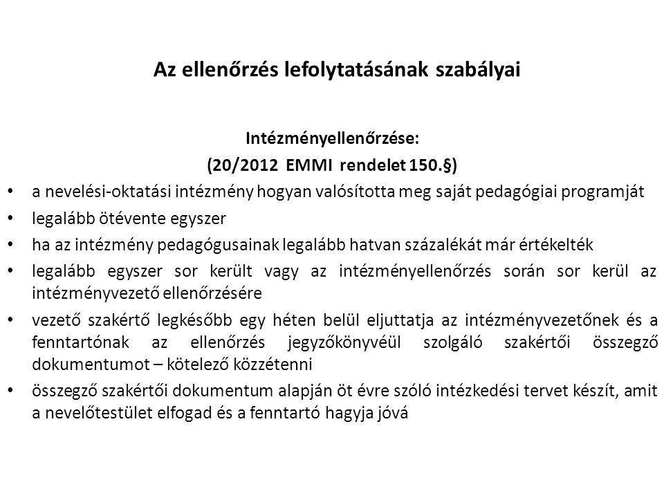 Az ellenőrzés lefolytatásának szabályai Intézményellenőrzése: (20/2012 EMMI rendelet 150.§) • a nevelési-oktatási intézmény hogyan valósította meg saj