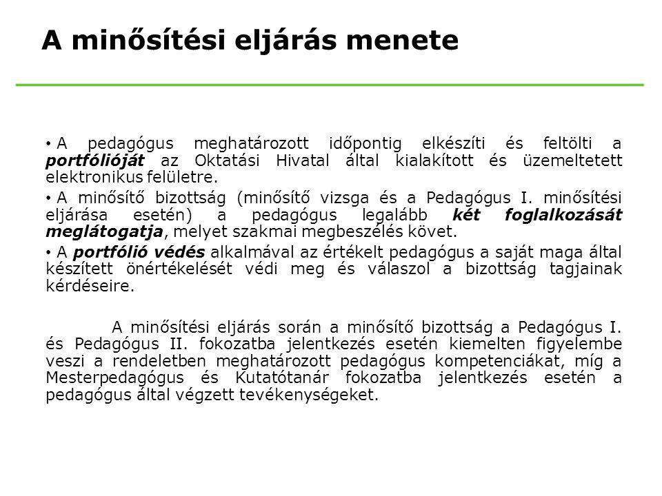Az ellenőrzés lefolytatásának szabályai Pedagógus ellenőrzés: (20/2012 EMMI rendelet 148.§) • általános pedagógiai szempontok • 2 szakértő óralátogatása • két szakértő a látogatás után a pedagógusról értékelőlapot készít, amelynek tartalmáról a pedagógust látogató két szakértő egyeztetést folytat • az értékelőlapot, amely az ellenőrzés jegyzőkönyve is, a szakértő legkésőbb öt munkanapon belül elkészíti • a pedagógus saját véleményének feltüntetése után a pedagógus minősítési személyi anyagához csatolják • NK 87.§(6) A köznevelési intézményben a munkáltatói jogok gyakorlása során az országos pedagógiai-szakmai ellenőrzés eredményét figyelembe kell venni.