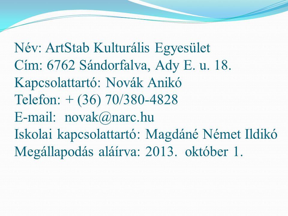 Név: ArtStab Kulturális Egyesület Cím: 6762 Sándorfalva, Ady E. u. 18. Kapcsolattartó: Novák Anikó Telefon: + (36) 70/380-4828 E-mail: novak@narc.hu I