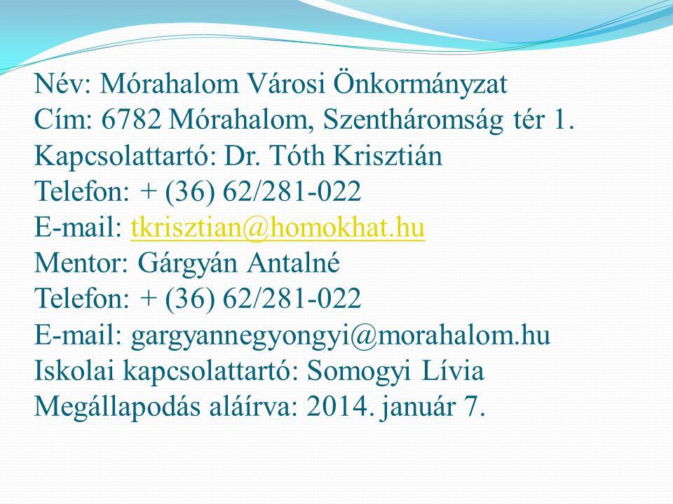 Név: Mórahalom Városi Önkormányzat Cím: 6782 Mórahalom, Szentháromság tér 1. Kapcsolattartó: Dr. Tóth Krisztián Telefon: + (36) 62/281-022 E-mail: tkr