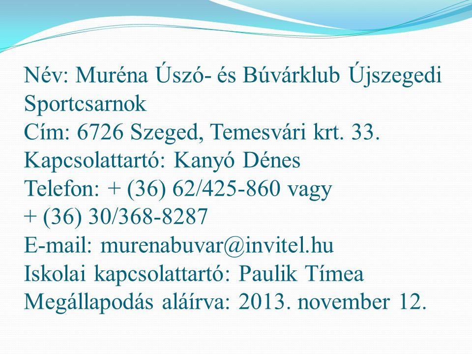 Név: Muréna Úszó- és Búvárklub Újszegedi Sportcsarnok Cím: 6726 Szeged, Temesvári krt. 33. Kapcsolattartó: Kanyó Dénes Telefon: + (36) 62/425-860 vagy