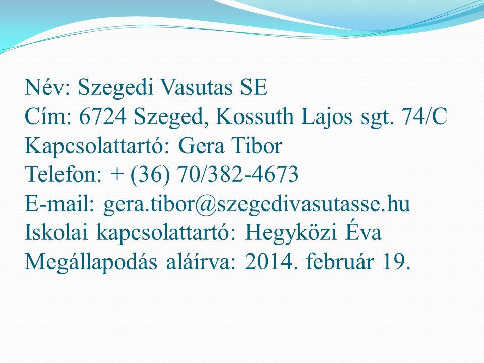 Név: Szegedi Vasutas SE Cím: 6724 Szeged, Kossuth Lajos sgt. 74/C Kapcsolattartó: Gera Tibor Telefon: + (36) 70/382-4673 E-mail: gera.tibor@szegedivas