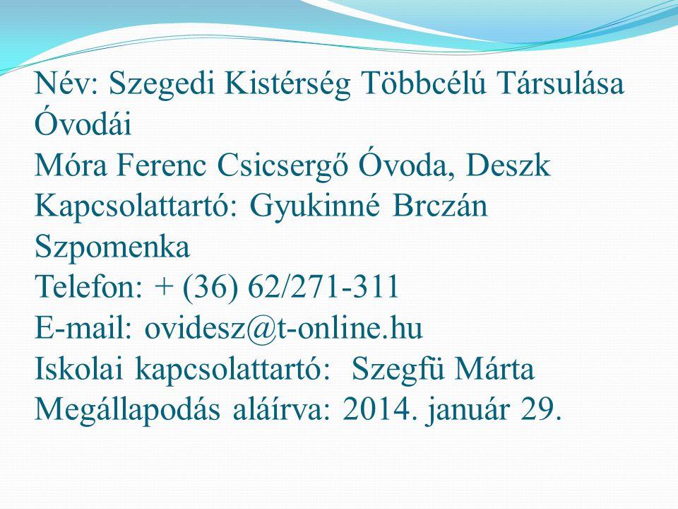 Név: Szegedi Kistérség Többcélú Társulása Óvodái Móra Ferenc Csicsergő Óvoda, Deszk Kapcsolattartó: Gyukinné Brczán Szpomenka Telefon: + (36) 62/271-3