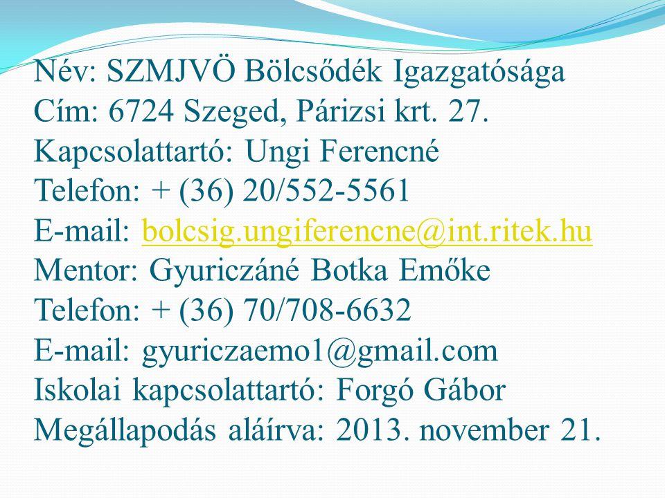 Név: SZMJVÖ Bölcsődék Igazgatósága Cím: 6724 Szeged, Párizsi krt. 27. Kapcsolattartó: Ungi Ferencné Telefon: + (36) 20/552-5561 E-mail: bolcsig.ungife