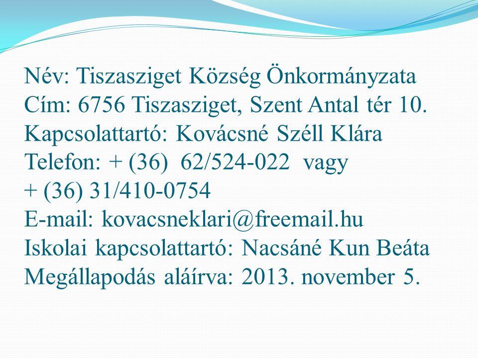 Név: Tiszasziget Község Önkormányzata Cím: 6756 Tiszasziget, Szent Antal tér 10. Kapcsolattartó: Kovácsné Széll Klára Telefon: + (36) 62/524-022 vagy