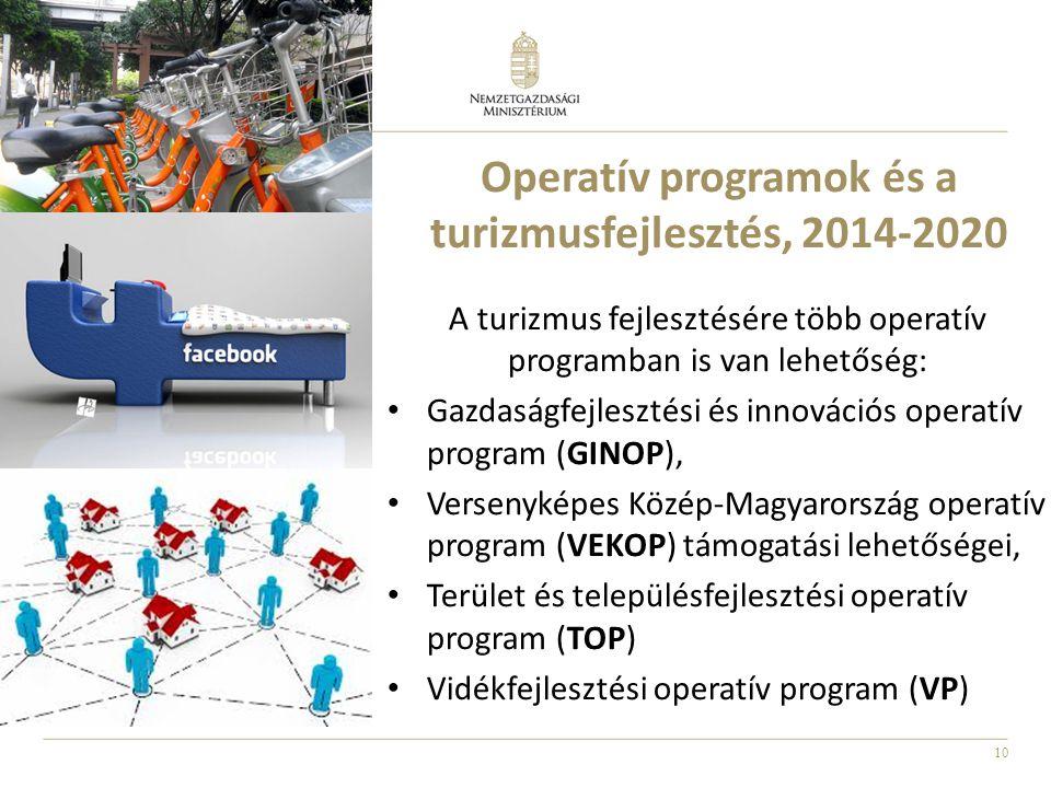 10 Operatív programok és a turizmusfejlesztés, 2014-2020 A turizmus fejlesztésére több operatív programban is van lehetőség: • Gazdaságfejlesztési és