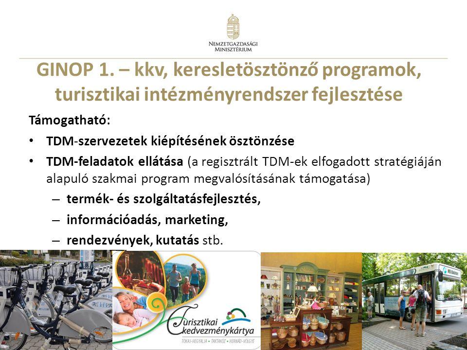 11 Támogatható: • TDM-szervezetek kiépítésének ösztönzése • TDM-feladatok ellátása (a regisztrált TDM-ek elfogadott stratégiáján alapuló szakmai progr