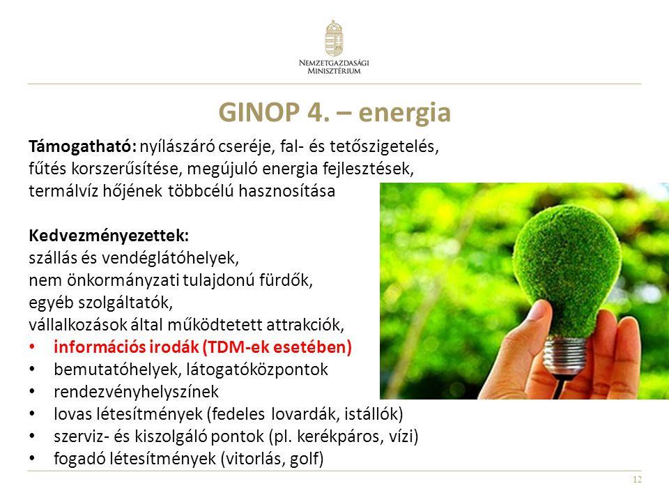 12 GINOP 4. – energia Támogatható: nyílászáró cseréje, fal- és tetőszigetelés, fűtés korszerűsítése, megújuló energia fejlesztések, termálvíz hőjének
