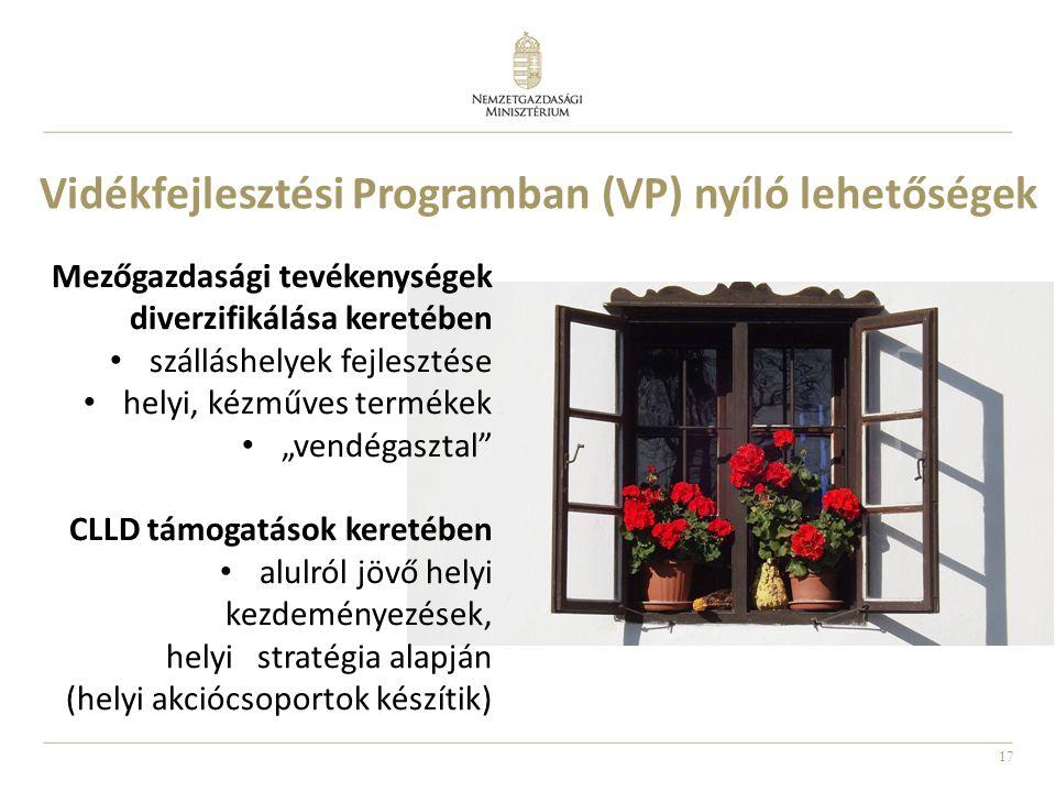 17 Vidékfejlesztési Programban (VP) nyíló lehetőségek Mezőgazdasági tevékenységek diverzifikálása keretében • szálláshelyek fejlesztése • helyi, kézmű
