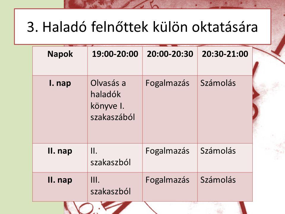 3.Haladó felnőttek külön oktatására Napok19:00-20:0020:00-20:3020:30-21:00 I.