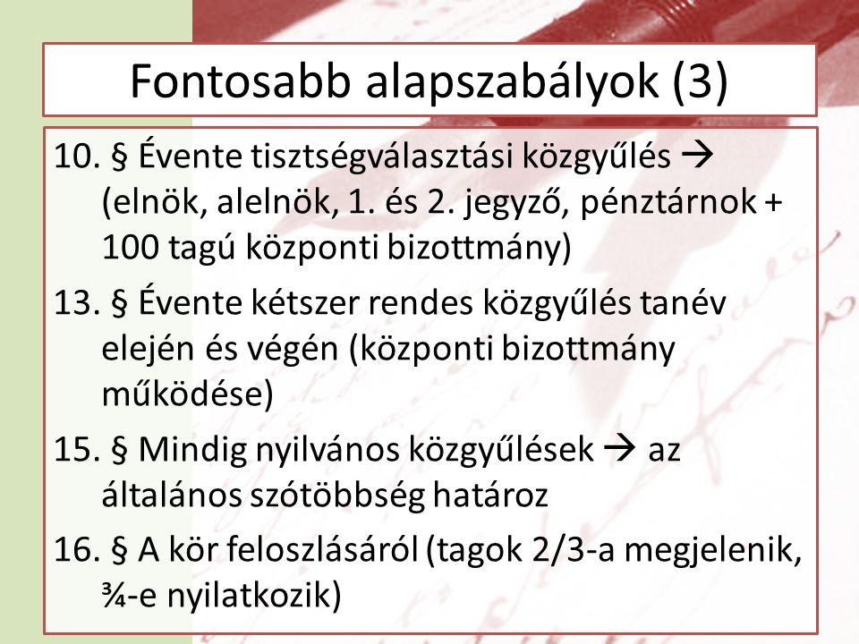 Fontosabb alapszabályok (3) 10.§ Évente tisztségválasztási közgyűlés  (elnök, alelnök, 1.