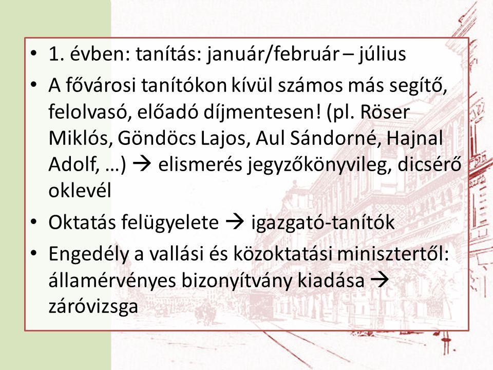 • 1. évben: tanítás: január/február – július • A fővárosi tanítókon kívül számos más segítő, felolvasó, előadó díjmentesen! (pl. Röser Miklós, Göndöcs