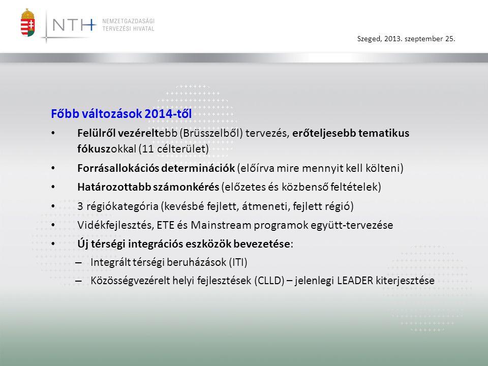 Szeged, 2013. szeptember 25. Főbb változások 2014-től • Felülről vezéreltebb (Brüsszelből) tervezés, erőteljesebb tematikus fókuszokkal (11 célterület