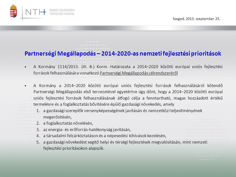 Szeged, 2013. szeptember 25. Partnerségi Megállapodás – 2014-2020-as nemzeti fejlesztési prioritások  A Kormány 1114/2013. (III. 8.) Korm. Határozata