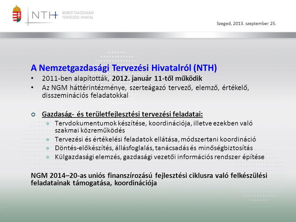 Szeged, 2013. szeptember 25. A Nemzetgazdasági Tervezési Hivatalról (NTH) • 2011-ben alapították, 2012. január 11-től működik • Az NGM háttérintézmény