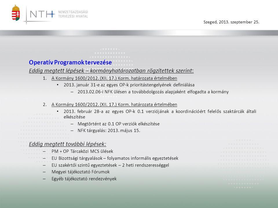 Szeged, 2013. szeptember 25. Operatív Programok tervezése Eddig megtett lépések – kormányhatározatban rögzítettek szerint: 1.A Kormány 1600/2012. (XII