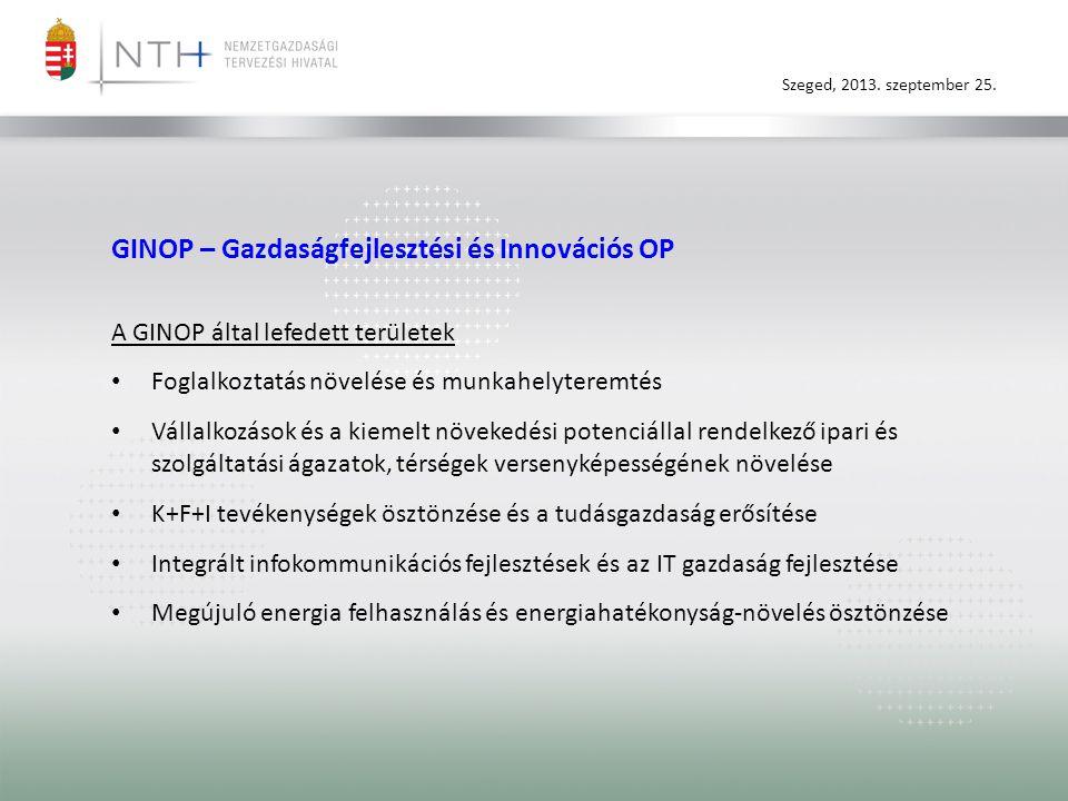 Szeged, 2013. szeptember 25. GINOP – Gazdaságfejlesztési és Innovációs OP A GINOP által lefedett területek • Foglalkoztatás növelése és munkahelyterem