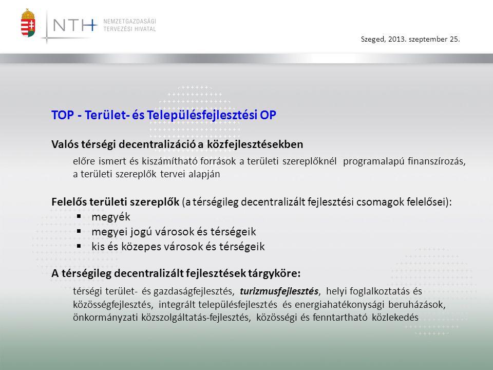 Szeged, 2013. szeptember 25. TOP - Terület- és Településfejlesztési OP Valós térségi decentralizáció a közfejlesztésekben előre ismert és kiszámítható