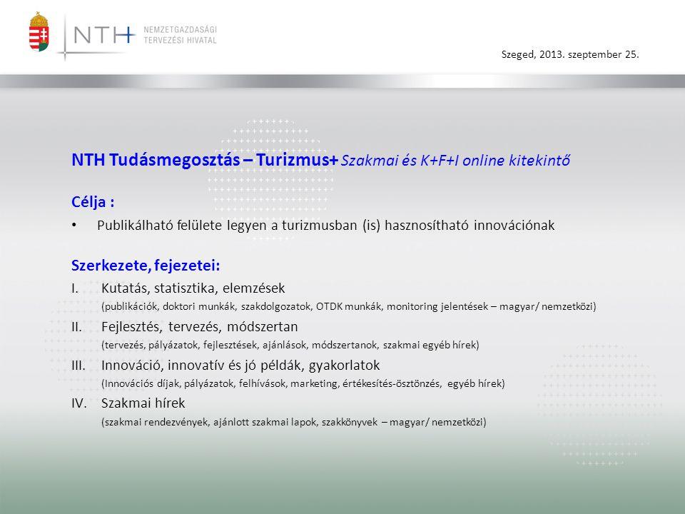 Szeged, 2013. szeptember 25. NTH Tudásmegosztás – Turizmus+ Szakmai és K+F+I online kitekintő Célja : • Publikálható felülete legyen a turizmusban (is