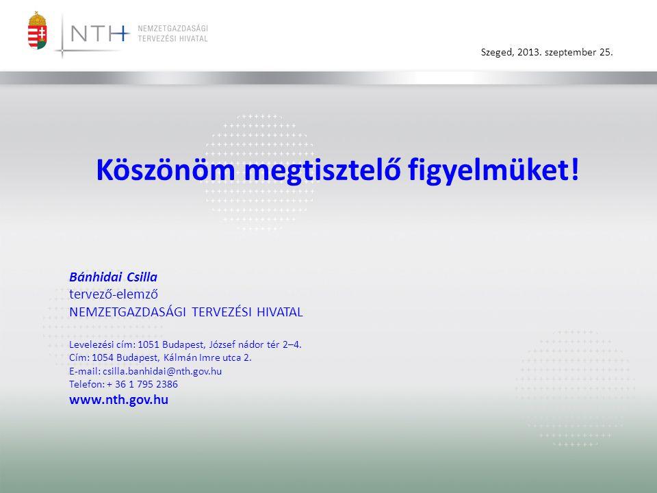 Szeged, 2013. szeptember 25. Köszönöm megtisztelő figyelmüket! Bánhidai Csilla tervező-elemző NEMZETGAZDASÁGI TERVEZÉSI HIVATAL Levelezési cím: 1051 B