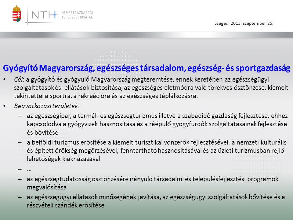 Szeged, 2013. szeptember 25. Gyógyító Magyarország, egészséges társadalom, egészség- és sportgazdaság • Cél: a gyógyító és gyógyuló Magyarország megte