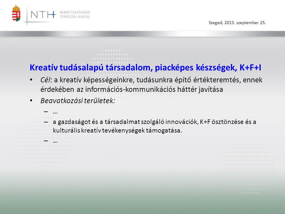 Szeged, 2013. szeptember 25. Kreatív tudásalapú társadalom, piacképes készségek, K+F+I • Cél: a kreatív képességeinkre, tudásunkra építő értékteremtés