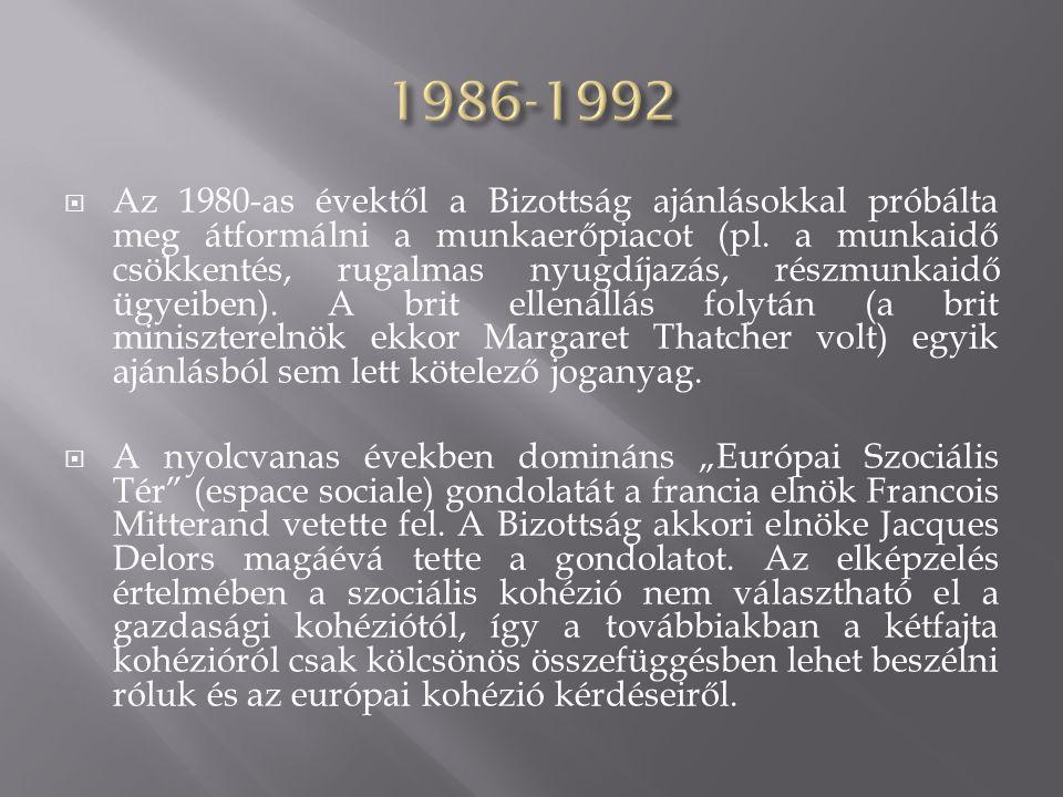  Az 1980-as évektől a Bizottság ajánlásokkal próbálta meg átformálni a munkaerőpiacot (pl. a munkaidő csökkentés, rugalmas nyugdíjazás, részmunkaidő
