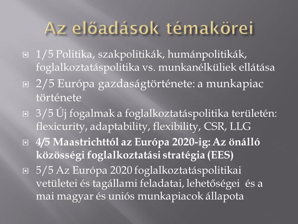  1/5 Politika, szakpolitikák, humánpolitikák, foglalkoztatáspolitika vs. munkanélküliek ellátása  2/5 Európa gazdaságtörténete: a munkapiac történet