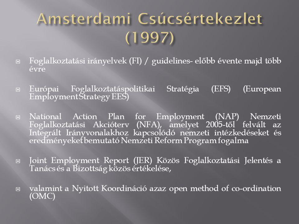  Foglalkoztatási irányelvek (FI) / guidelines- előbb évente majd több évre  Európai Foglalkoztatáspolitikai Stratégia (EFS) (European Employment Strategy EES)  National Action Plan for Employment (NAP) Nemzeti Foglalkoztatási Akcióterv (NFA), amelyet 2005-től felvált az Integrált Irányvonalakhoz kapcsolódó nemzeti intézkedéseket és eredményeket bemutató Nemzeti Reform Program fogalma  Joint Employment Report (JER) Közös Foglalkoztatási Jelentés a Tanács és a Bizottság közös értékelése,  valamint a Nyitott Koordináció azaz open method of co-ordination (OMC)