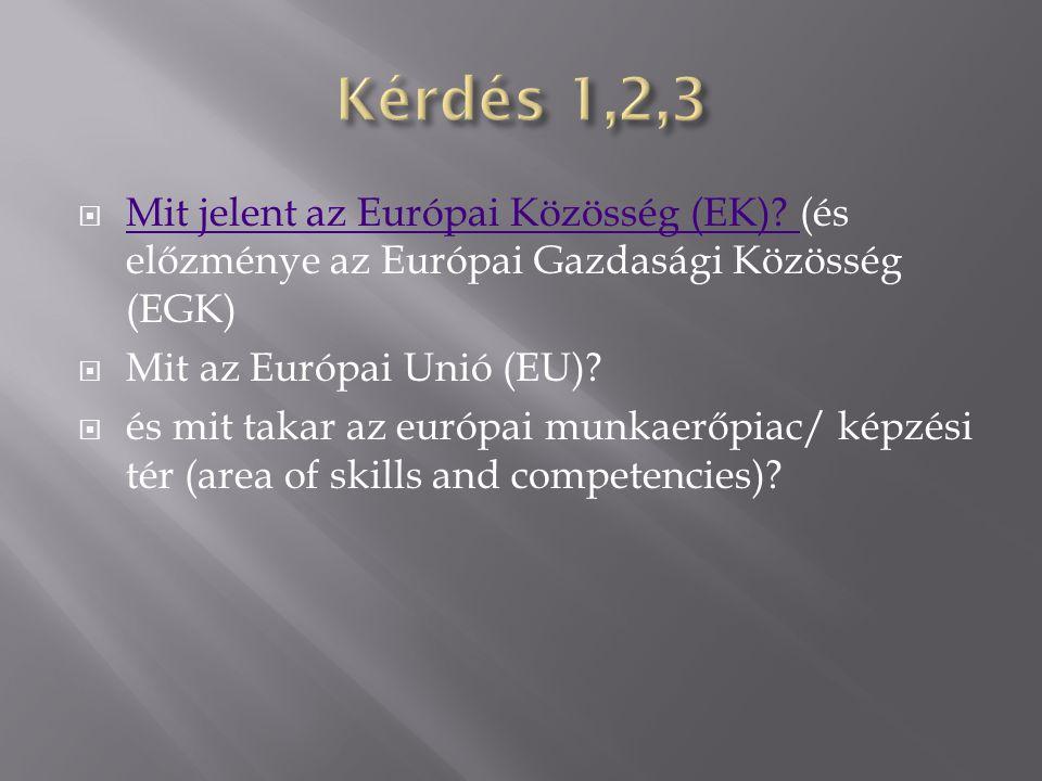  Mit jelent az Európai Közösség (EK)? (és előzménye az Európai Gazdasági Közösség (EGK) Mit jelent az Európai Közösség (EK)?  Mit az Európai Unió (E
